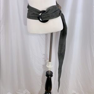 Accessories - Suede EUC wide belt one size grey adjustable